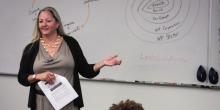 Photo of Professor Barbara Lentz teaching
