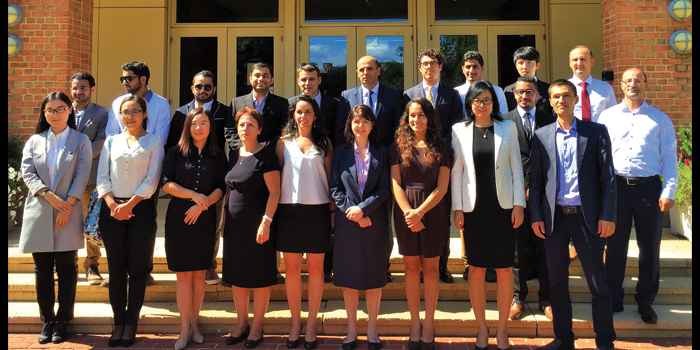Group photo of 2016-2017 international law students in front of the Worrell Professional Center