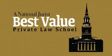 Graphic of chapel with text 'A National Jurist Best Value Private Law School'