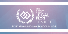 Graphic of expert institute's graphic that says '2016 Best Legal Blog Contest Education and Law School Blogs'