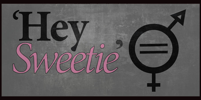 Graphic for the 2016 'Hey Sweetie' radio talk that says 'Hey Sweetie' and incorporates the universal symbol for man and the universal symbol for woman