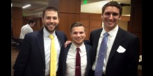 Group photo of law students, Brian Kuppelweiser, Shayn Fernandez and Ethan Clark, in the Worrell Professional Center