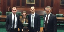 Photo of Wake Forest School of Law students with their awards from winning best brief and regionals as part of the 2016-2017 National Moot Court team