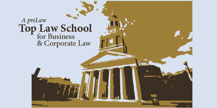 Graphic image of Wake Forest University's Wait Chapel in gold, white, gray, and black with the text, 'A preLaw Top Law School for Business & Corporate Law'