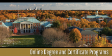 Photo graphic of Wake Forest University campus and the city of Winston-Salem with the text 'Online Degree and Certificate Programs'
