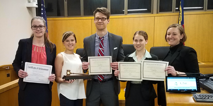 Group photo of Wake Forest School of Law 1L trial team who won the 2017 Kilpatrick Townsend Mock Trial