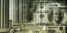 Photo of American currency superimposed over Grecian columns and building