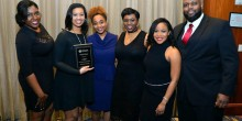 Group photo of law students on the BLSA Mock Trial Team after advancing to the 2017 National Championship