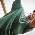 Photo of a Wake Forest Law student working on a build for the local chapter of Habitat for Humanity
