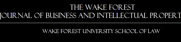 Graphic that depicts logo stating 'The Wake Forest Journal of Business and Intellectual Property Law, Wake Forest Forest University School of Law'