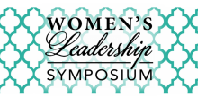 Graphic with teal square pattern that says 'Women's Leadership Symposium'