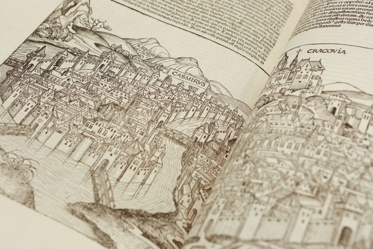 Photo of line drawing depiction of Krakow's Jewish quarter in Kazimierz (Casmirus). [Schedel, Hartmann]. Liber Chronicarum. German. Nuremberg: Anton Koberger, 23 Dec. 1493. Rosenwald Collection, Library of Congress, Rare Book and Special Collection Division.