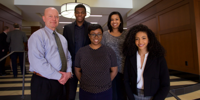 Recipients of the 2017 BLSA Scholarships and Legacy Award are Professor Steve Virgil (left), Lhens Vilson (JD '17), Tracea Rice (JD '19), Briana O'Neil (JD '18) and Cheslie Kryst (JD '17)