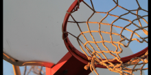 Stock photo of basketball hoop and net.
