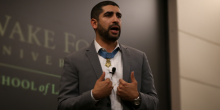 Photo of Medal of Honor recipient, Captain Florent Groberg speaking