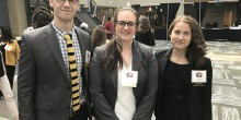 Photo of 2017 MACHE Bowl competitors Tim Day (JD '19), Hailey Cleek (JD '19) and Virginia Stanton (JD '19) posing in WFU's BioTech Place