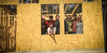 Photo of law students posing at Habitat for Humanity build