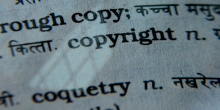 "Photo from page of dictionary that says ""copy"", ""copyright"", and ""coquetry"""