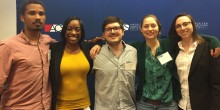 Photo of five Wake Forest Law students posing at 2017 ACS Convention at Duke Law