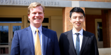 Photo of JD Mentor Ray Dunn (JD '18) and his mentee, Kintaro Minami (LL.M. '17) in front of the law school