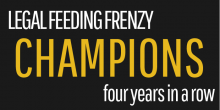 "Graphic that says ""Legal Feeding Frenzy Champions four years in a row"""
