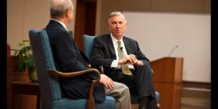 Photo of Professor Ron Wright interviews Thomas W. Ross during the Spring 2017 'Conversation With.'