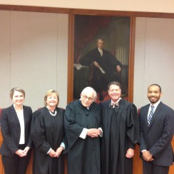 Photo of winners and judges of 46th Annual George K. Walker Moot Court Competition