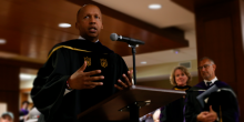 Photo of Bryan Stevenson speaking at the Worrell Professional Center