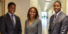 Photo of Wake Forest Law student Jason Chung (JD '17), alumna Corena Norris-McCluney (JD '00) and Professor Omari Simmons pose following her presentation as part of the Business Law Program's Sager Series.