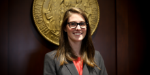 Photo of Kelly Warlich (JD '16) in Winston-Salem's North Carolina Business Court