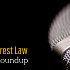 """Photo of microphone and title that says, """"Wake Forest Law Media Roundup)"""