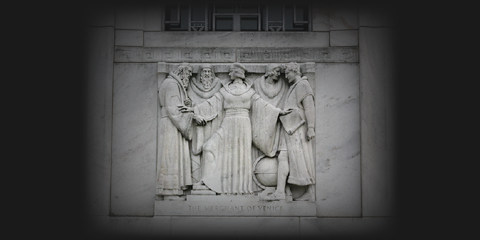 Photo of Merchant of Venice Relief at D.C. Shakespeare library