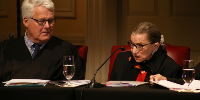Photo of Justice Ginsburg and Professor Dick Schneider
