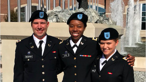 Photo of Tim McLister (assigned to 18th Airborne Corps at Fort Bragg, NC), Jasmine Little (assigned to Fort Huachuca, AZ), and Erin Brown (assigned to the 3rd Infantry Division at Fort Stewart GA).