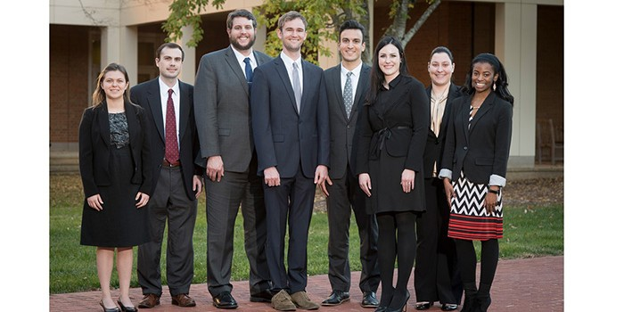 Photo of Fall 2017 Elder Law Clinic Students (from left) Amanda Perez, Brad Fleming, Matt Freeze, John McCool, Samer Roshdy, Brandy Nickoloff, Kristina Syrigos and Jasmine Gregory.