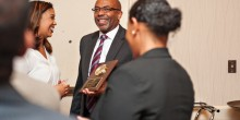 Photo of Professor Tim Davis receiving the legacy award at the 33rd Annual BLSA Scholarship Banquet