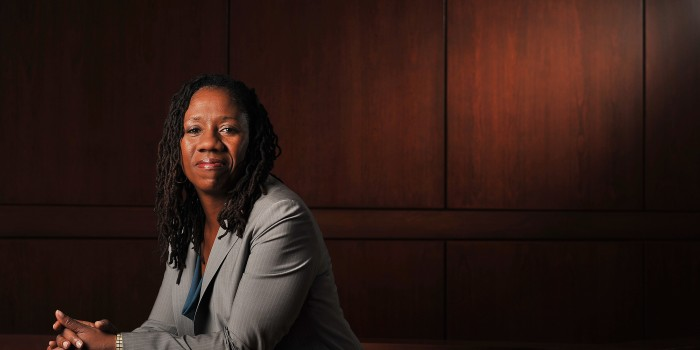 Photo of Sherrilyn Ifill, who is the President and Director-Counsel of the NAACP Legal Defense and Education Fund poses for a portrait at the University of Maryland Law School. (Photo by Matt McClain for The Washington Post)