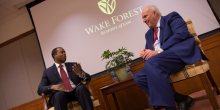 Photo of Professor Omari Simmons and Craig Glidden discussing life as a general counsel
