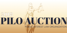 "Graphic of justice holding the scales and words, ""2018 PILO AUCTIOn PUBLIC INTEREST LAW"""