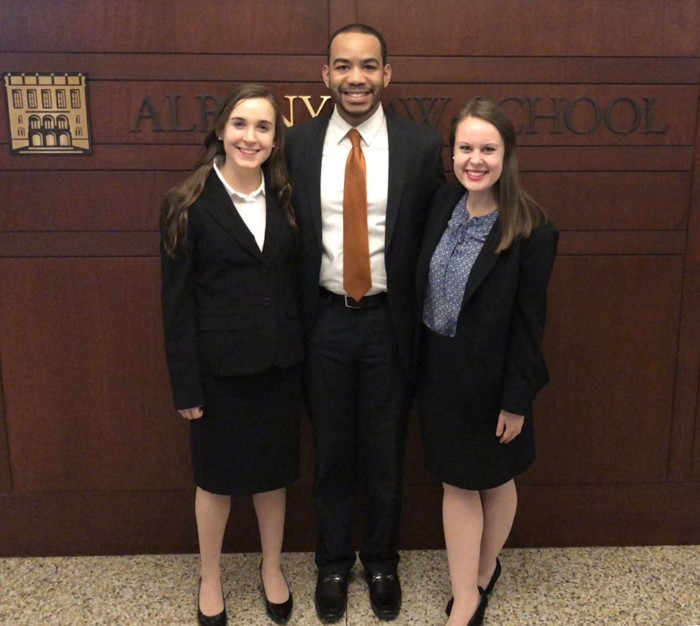 Photo of Gabrielli Moot Court Team Alexia Martin, Jonathan Patton and Caitlin Bush