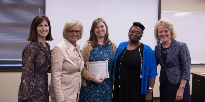 Photo of (from left) Ann Gibbs, Beth Hopkins, Emily Scotton, Hazel Mack, Dean Suzanne Reynolds