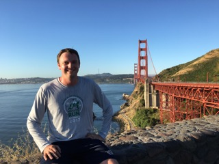 Photo of Gilbert Smolenski (JD' 19) at the Golden Gate Bridge