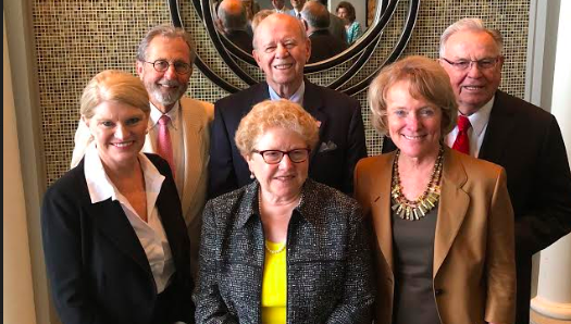 Photo of Wake Forest Law Alumni Mona Lisa Wallace (left), Joe Cheshire, Catharine Arrowood, Gene Boyce and Dean Suzanne Reynolds are part of the North Carolina Lawyers Weekly inaugural Hall of Fame.