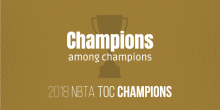 "Graphic of trophy with words ""Champions among champions"" and ""2018 NBTA TOC Champions"""