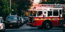 image of firetruck in neighborhood