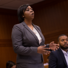 Photo of students practicing for trial advocacy
