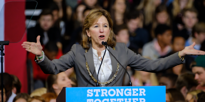 kay hagan at rally