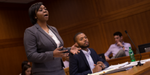 students arguing in court