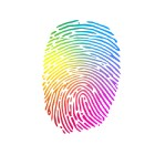 rainbow colored graphic finger print
