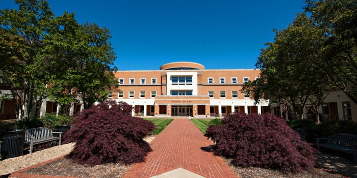 Exterior photo of Wake Forest Law building